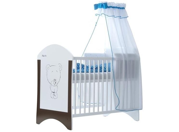 BabyBoo Dětská postýlka LUX s motivem Hnědý medvídek, 120 x 60 cm