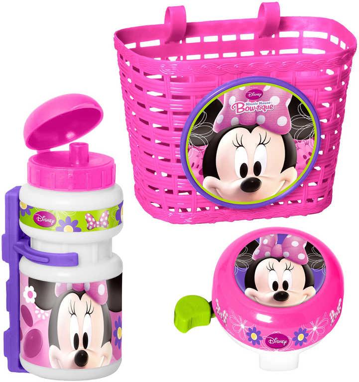 Doplňky plastové na dětské kolo Minnie set košík, láhev na nápoj, zvonek