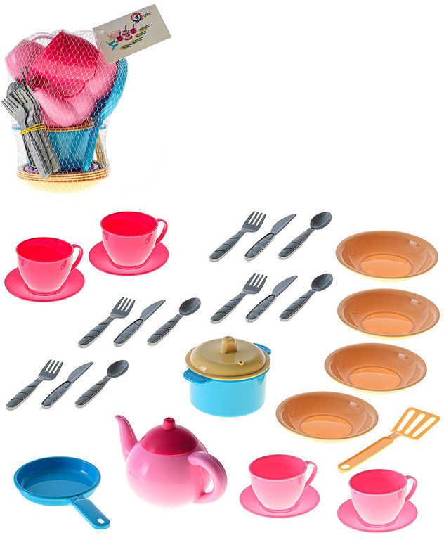 Baby dětské barevné nádobí holčičí velká sada 29ks v síťce plast