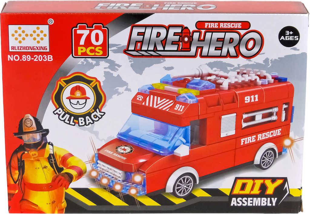 Stavebnice hasiči auto červené set 70 dílků na baterie Světlo Zvuk