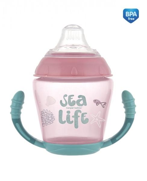 Canpol babies Nevylévací hrníček Sea Life - růžový