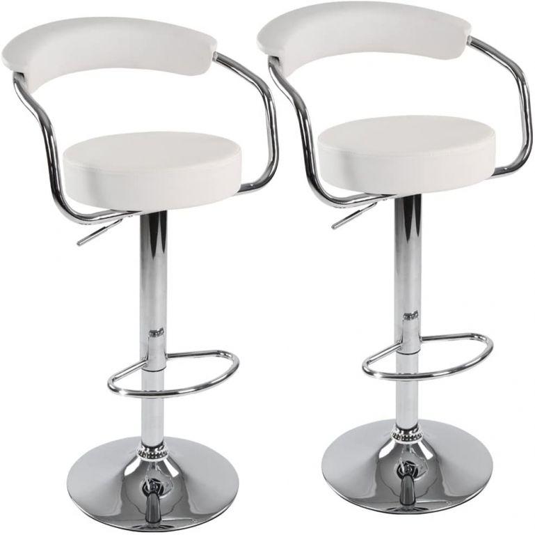 Sada barových židlí 2 ks, bílá, 53 x 105 x 52 cm