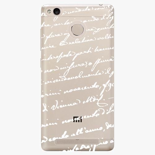 Plastový kryt iSaprio - Handwiting 01 - white - Xiaomi Redmi 3S