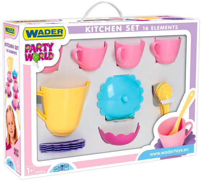 WADER Dětská sada nádobí set kuchyňský párty tác s doplňky 16ks 22050 PLAST