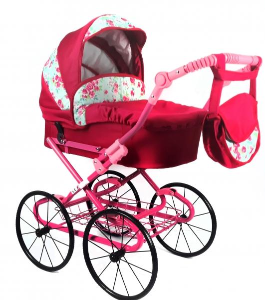 Dětský kočárek pro panenky s retro koly - malina, růžičky