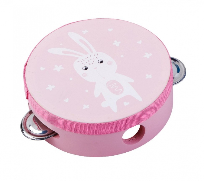 Adam Toys Dětská tamburína s motivem králíčka - růžová