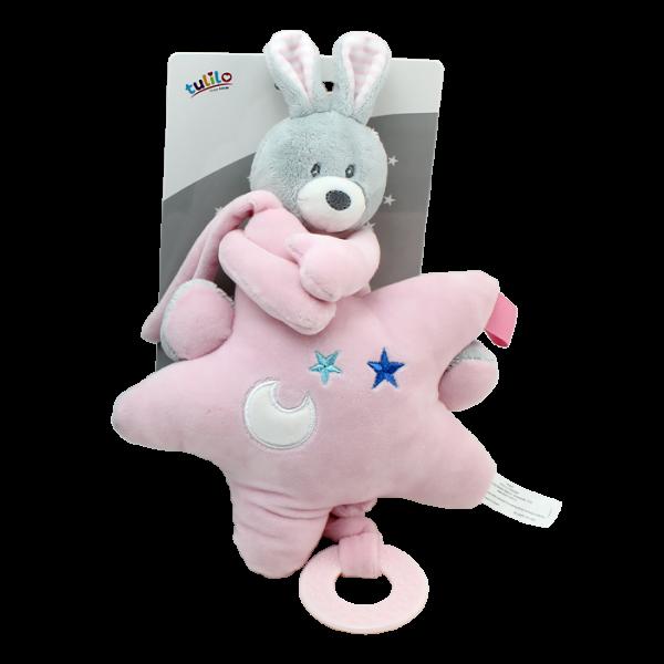 Závěsná plyšová hračka Tulilo s melodií Králíček s hvězdou, 22 cm - růžový