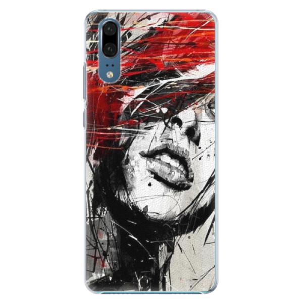 Plastové pouzdro iSaprio - Sketch Face - Huawei P20