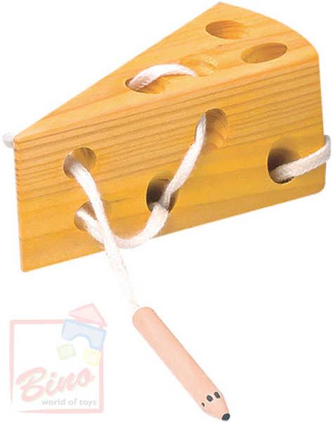 BINO DŘEVO Šití sýr * DŘEVĚNÉ HRAČKY *