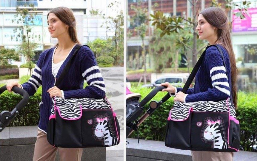 Taška pro maminky - růžová zebra