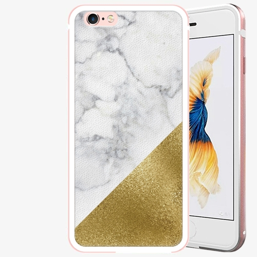 Plastový kryt iSaprio - Gold and WH Marble - iPhone 6 Plus/6S Plus - Rose Gold