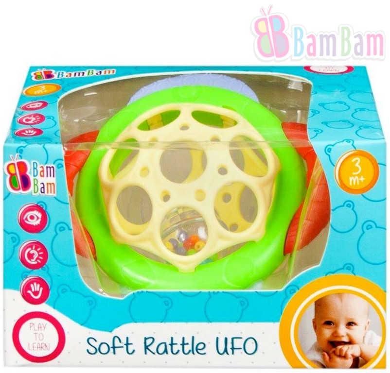 ET BAM BAM Baby chrastítko měkké UFO s kuličkami 2 barvy pro miminko