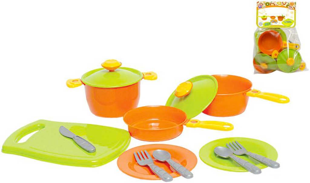 Dětské barevné nádobí plastové set 14ks s hrnci a příbory v sáčku