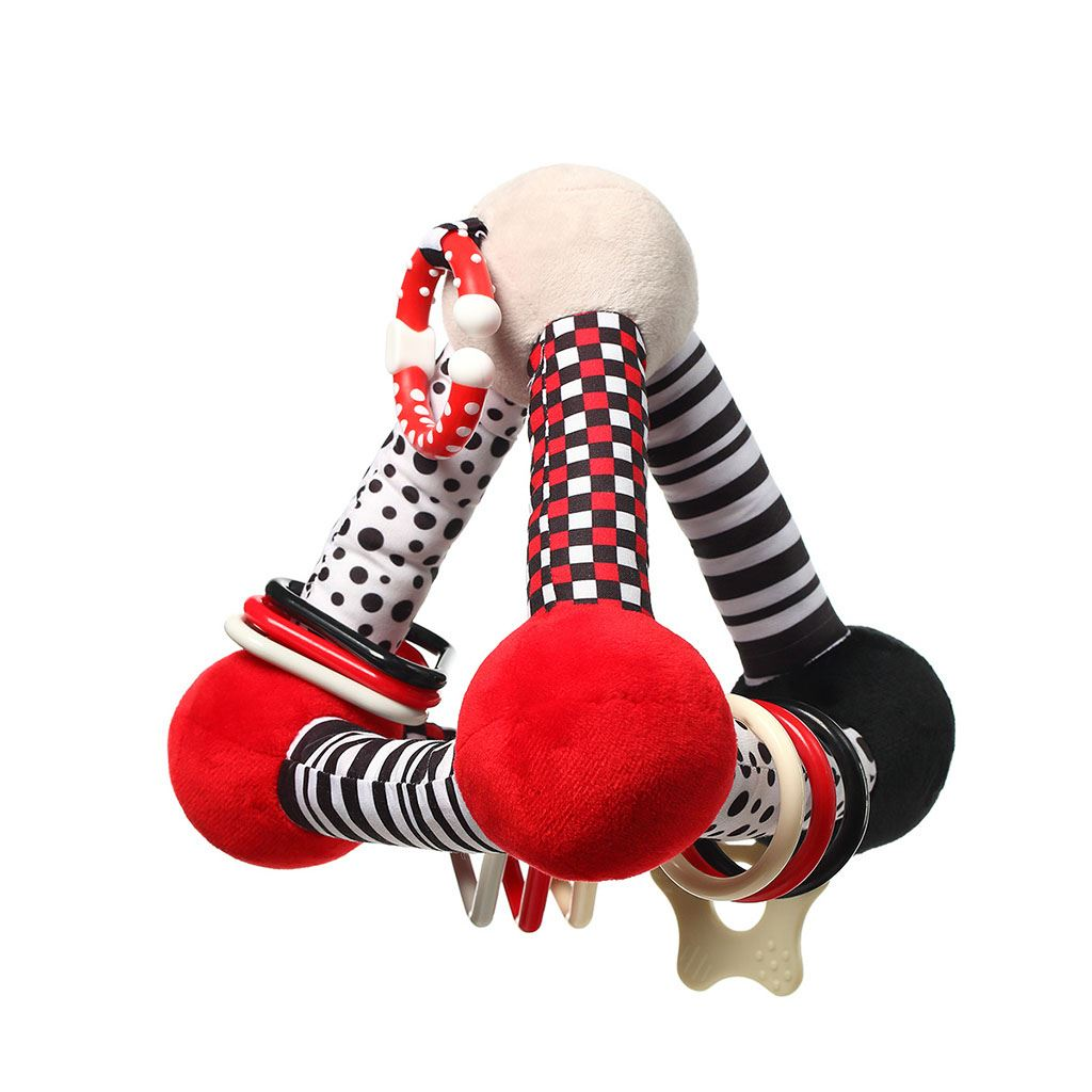 Edukační hračka Baby Ono pyramida Tiny Yoga red - červená