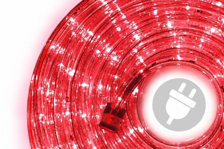 LED světelný kabel - 240 diod, 10 m, červený