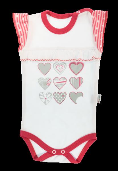 Dětské body na ramínka Mamatti Love Girl - bílá/červená, vel. 98 - 98 (24-36m)