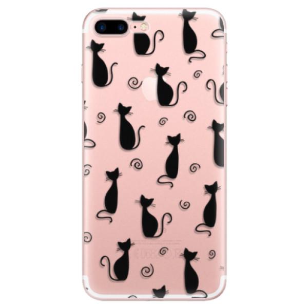 Odolné silikonové pouzdro iSaprio - Cat pattern 05 - black - iPhone 7 Plus