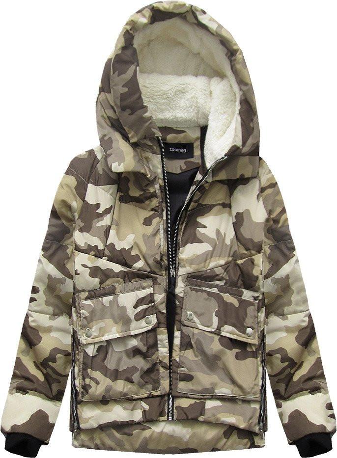 Krátká maskáčová bunda v moro-béžové barvě s přírodní péřovou výplní (C715)