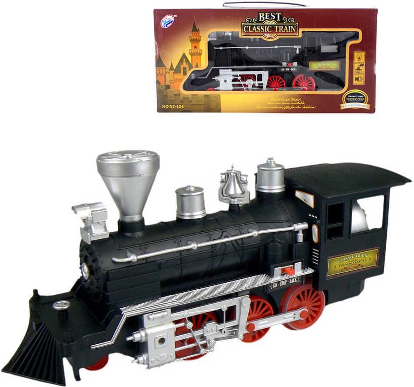Lokomotiva parní 35cm historický vláček na baterie kouří Světlo Zvuk