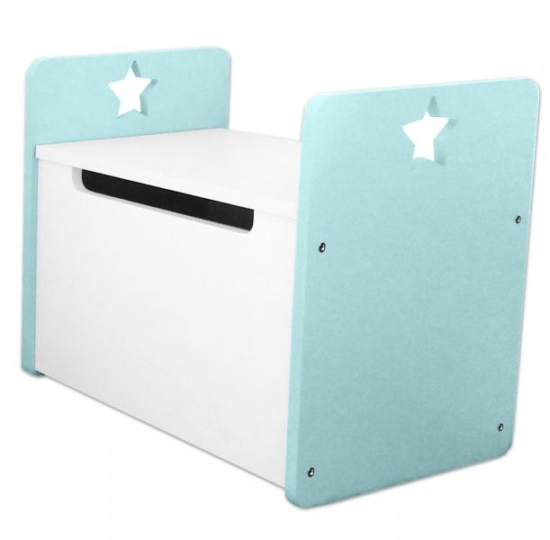Box na hračky, truhla Star - zelená-mátová,bílá