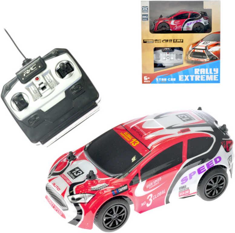 RC Auto sportovní 14cm rally 1:28 na baterie na vysílačku 27MHz plast 2 barvy