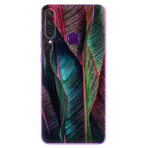 Odolné silikonové pouzdro iSaprio - Black Leaves - Huawei Y6p