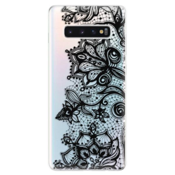Odolné silikonové pouzdro iSaprio - Black Lace - Samsung Galaxy S10+