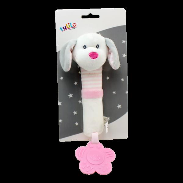 Plyšová hračka Tulilo s pískátkem a kousátkem Pejsek, 17 cm - růžový