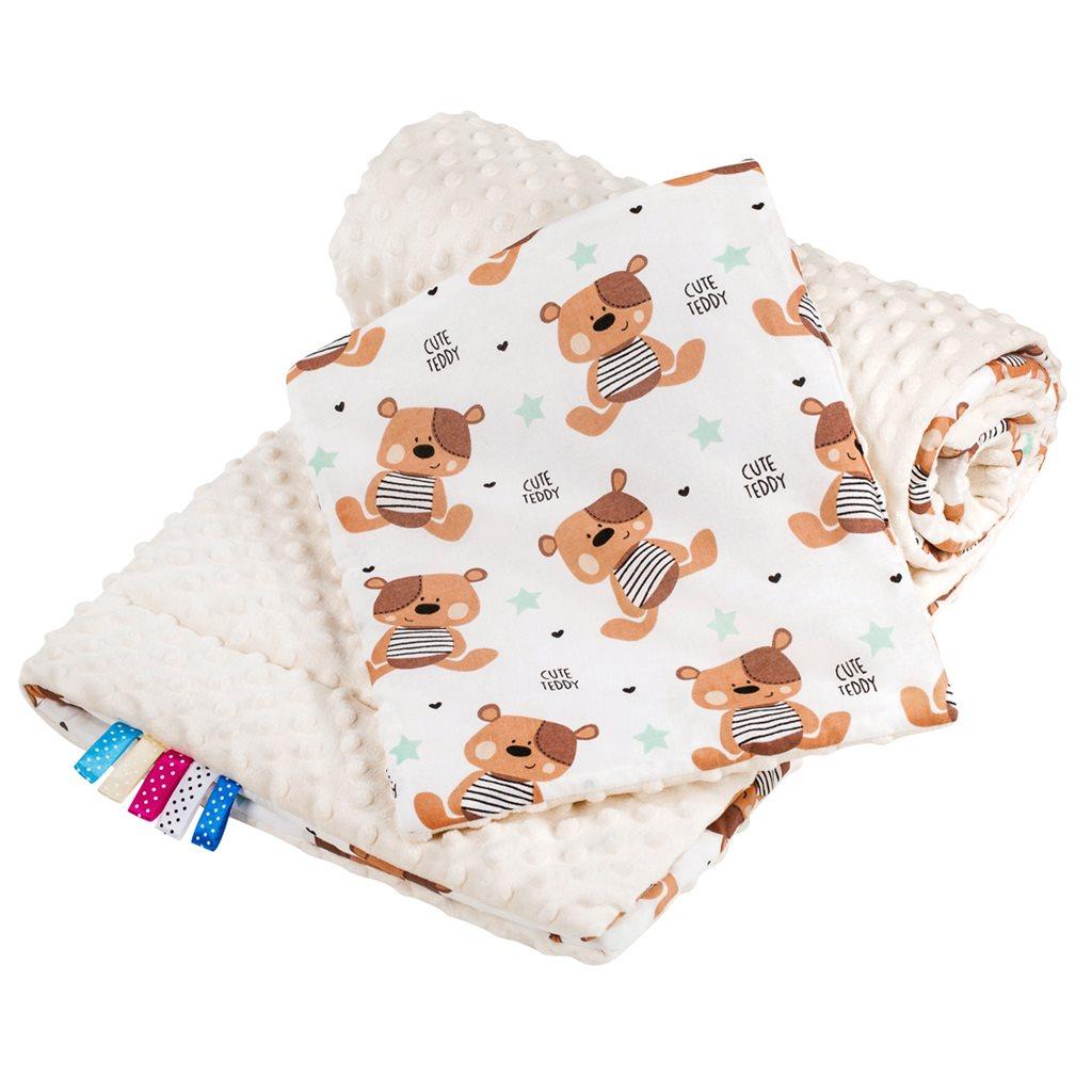 Oboustranný Set z Minky do kočárku New Baby teddy