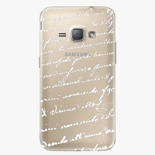 Plastový kryt iSaprio - Handwriting 01 - white - Samsung Galaxy J1 2016