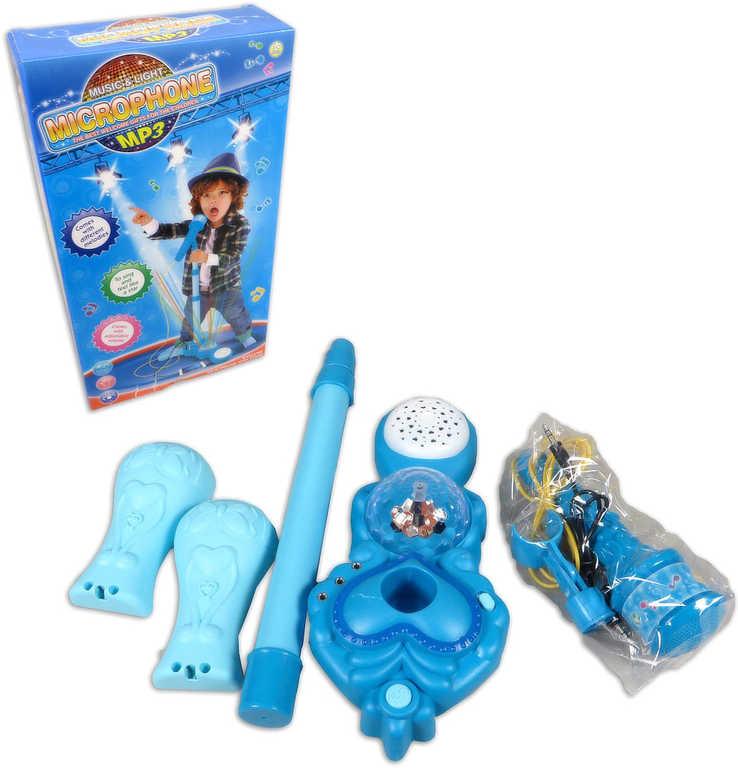 Mikrofon dětský plastový se stojánkem modrý karaoke na baterie Svtělo Zvuk