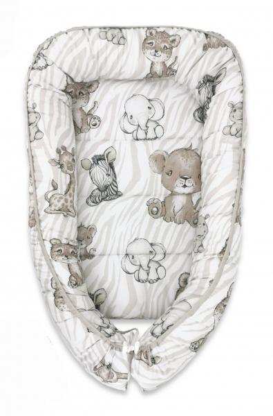 Baby Nellys Sada komplet, oboustranné hnízdečko 55 x 85 cm, ZOO, béžová