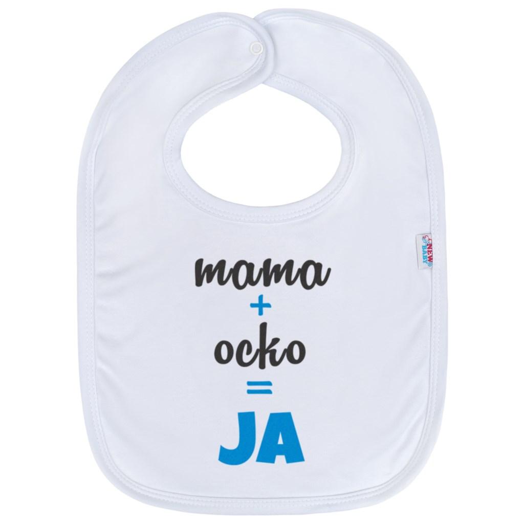 Kojenecký bavlněný bryndák New Baby mama+ocko=JA - modrá