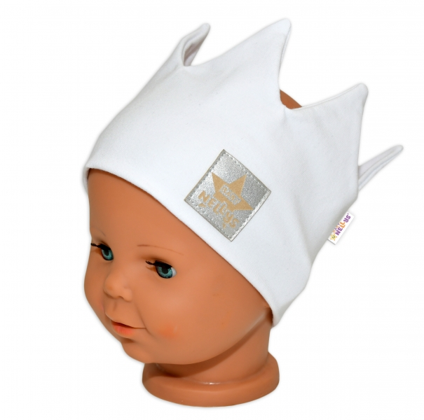 baby-nellys-hand-made-bavlnena-celenka-dvouvrstva-korunka-bila-1-3roky-1-3-roky