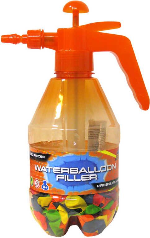 Pumpa plnič na vodní balonky set tlakovací láhev + vodní bomby neonové 250ks 3 barvy