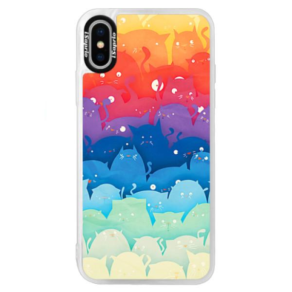 Neonové pouzdro Blue iSaprio - Cats World - iPhone XS