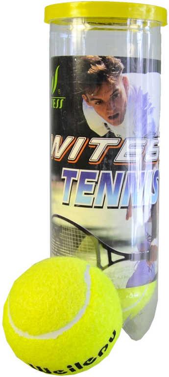 Míček žlutý tenisový 7cm set 3ks tenisáky v tubě