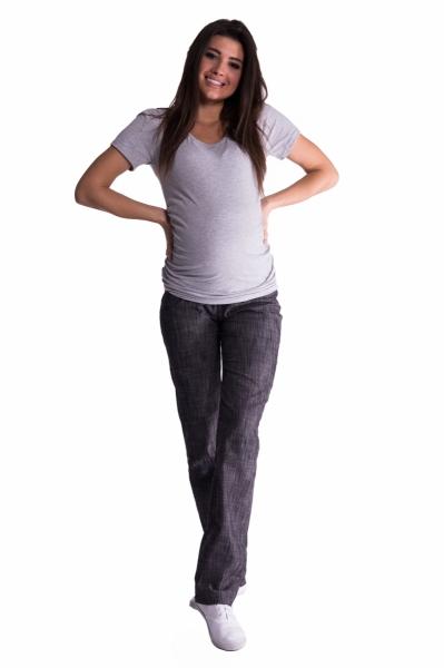 Bavlněné, těhotenské kalhoty s regulovatelným pásem