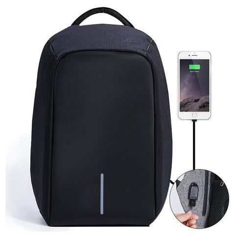 Bezpečnostní batoh s USB nabíječkou - černý