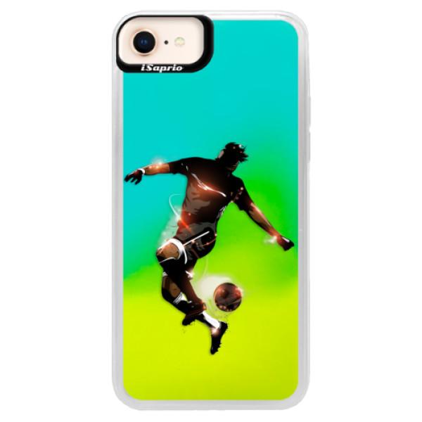 Neonové pouzdro Blue iSaprio - Fotball 01 - iPhone 8