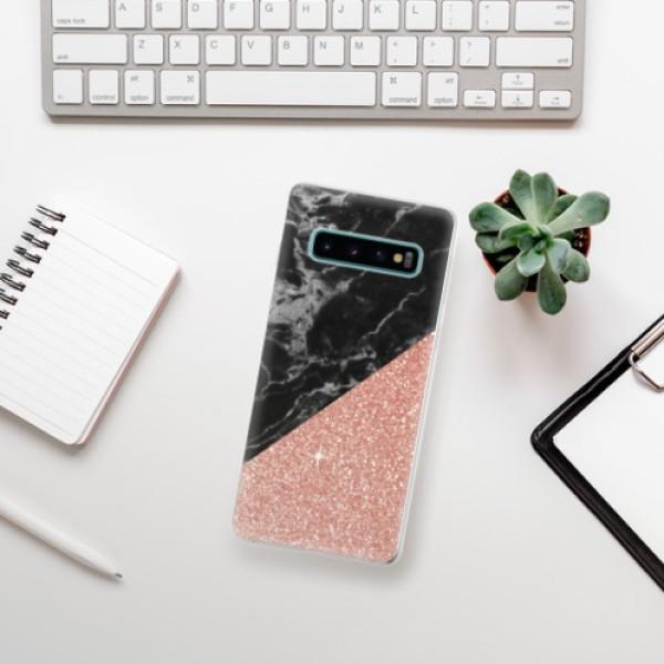 Odolné silikonové pouzdro iSaprio - Rose and Black Marble - Samsung Galaxy S10