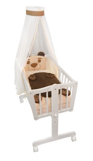 Dřevěná kolébka s plnou výbavou Animal -Medvídek béžový